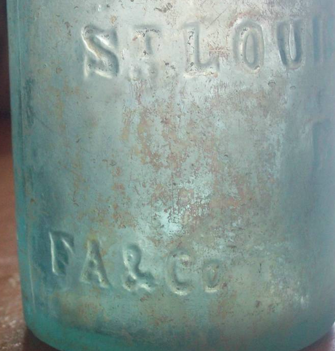 J. Cairns soda showing FA & Co embossing