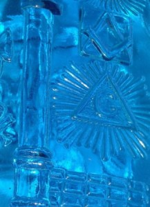 blue repro Masonic flask